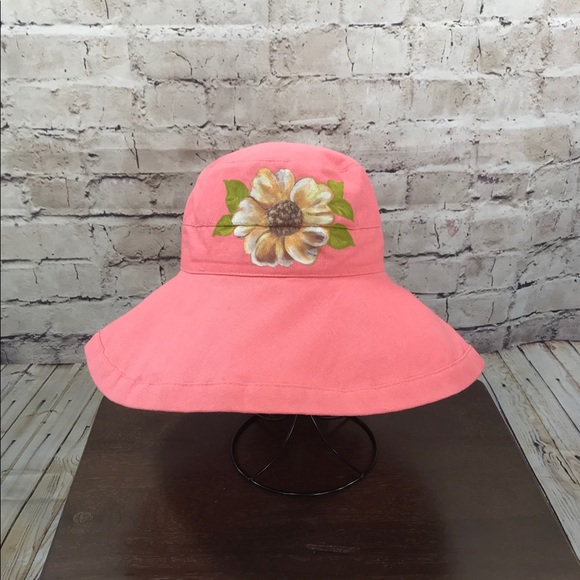 677c3864 Scala Accessories | Big Brim Hat In Salmon With Painted Rose | Poshmark